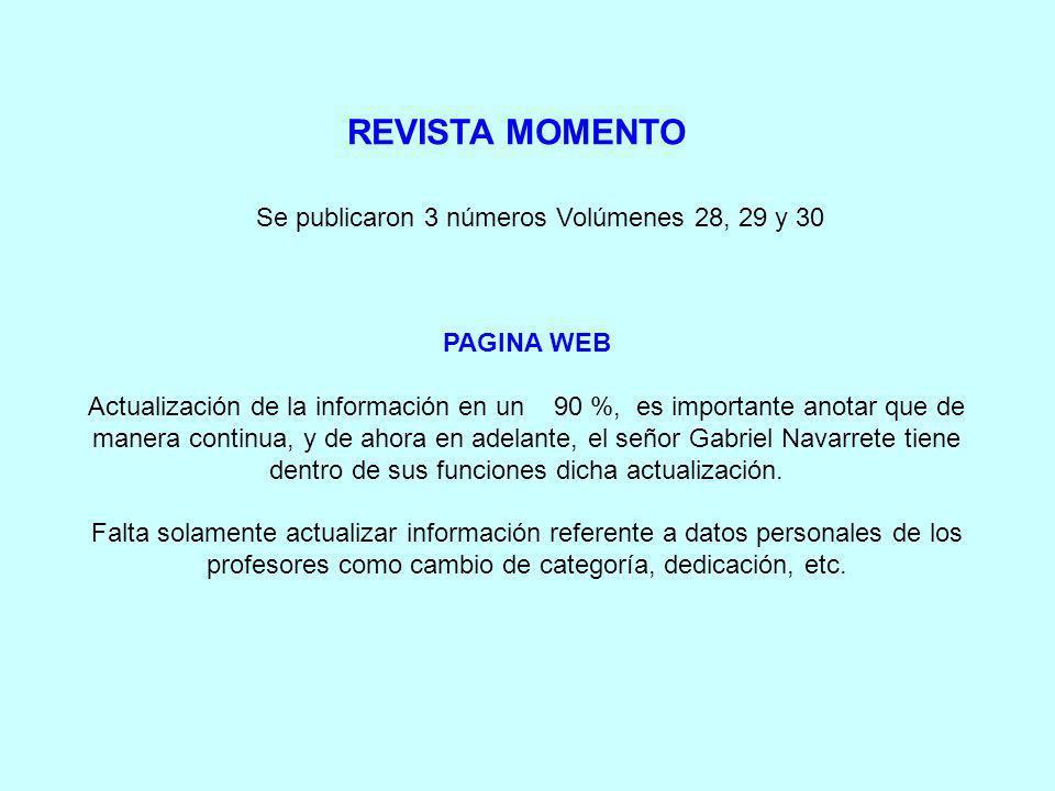 REVISTA MOMENTO PAGINA WEB Actualización de la información en un 90 %, es importante anotar que de manera continua, y de ahora en adelante, el señor Gabriel Navarrete tiene dentro de sus funciones dicha actualización.