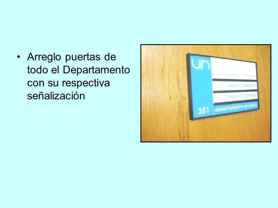 Arreglo puertas de todo el Departamento con su respectiva señalización