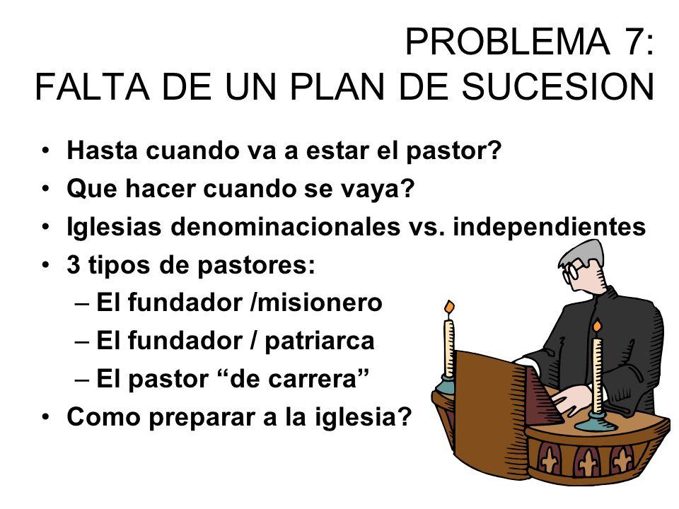 PROBLEMA 7: FALTA DE UN PLAN DE SUCESION Hasta cuando va a estar el pastor? Que hacer cuando se vaya? Iglesias denominacionales vs. independientes 3 t