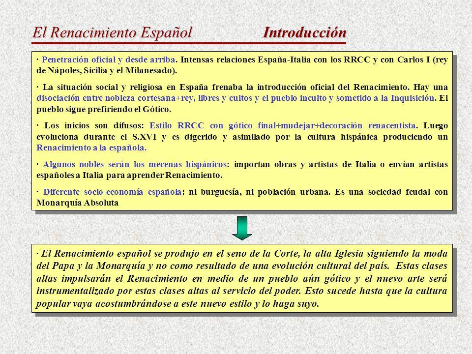El Renacimiento Español Introducción · Penetración oficial y desde arriba. Intensas relaciones España-Italia con los RRCC y con Carlos I (rey de Nápol