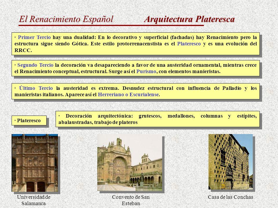 El Renacimiento Español Arquitectura Plateresca · Primer Tercio hay una dualidad: En lo decorativo y superficial (fachadas) hay Renacimiento pero la e
