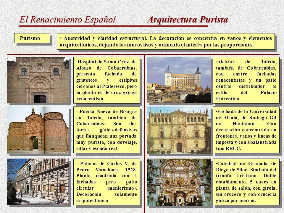 El Renacimiento Español Arquitectura Purista · Purismo · Austeridad y claridad estructural. La decoración se concentra en vanos y elementos arquitectó