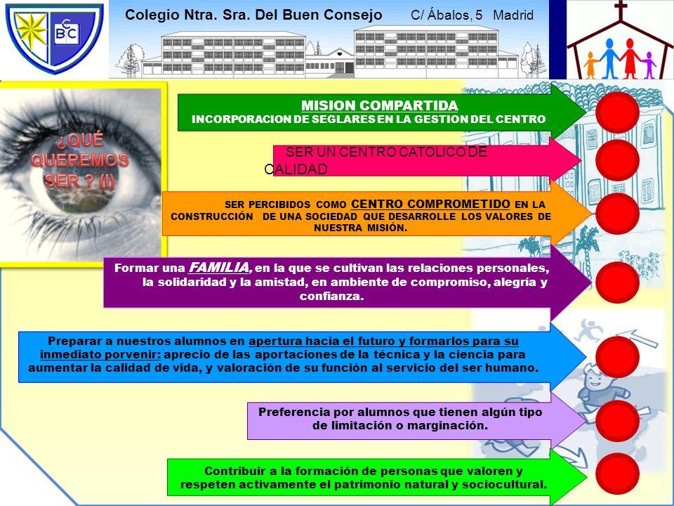 Colegio Ntra. Sra. Del Buen Consejo C/ Ábalos, 5 Madrid MISION COMPARTIDA INCORPORACION DE SEGLARES EN LA GESTION DEL CENTRO SER UN CENTRO CATOLICO DE