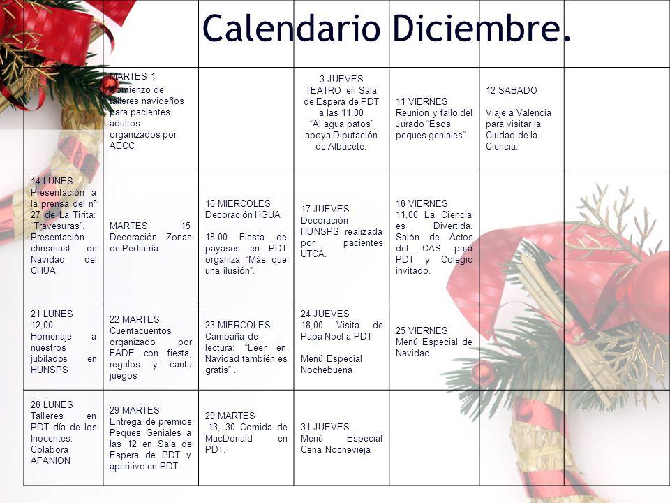 Calendario Diciembre. MARTES 1 Comienzo de talleres navideños para pacientes adultos organizados por AECC 3 JUEVES TEATRO en Sala de Espera de PDT a l