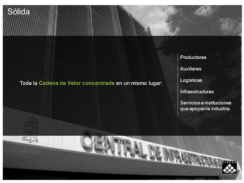 Toda la Cadena de Valor concentrada en un mismo lugar: Productoras Auxiliares Logísticas Infraestructuras Servicios e instituciones que apoyan la industria Sólida