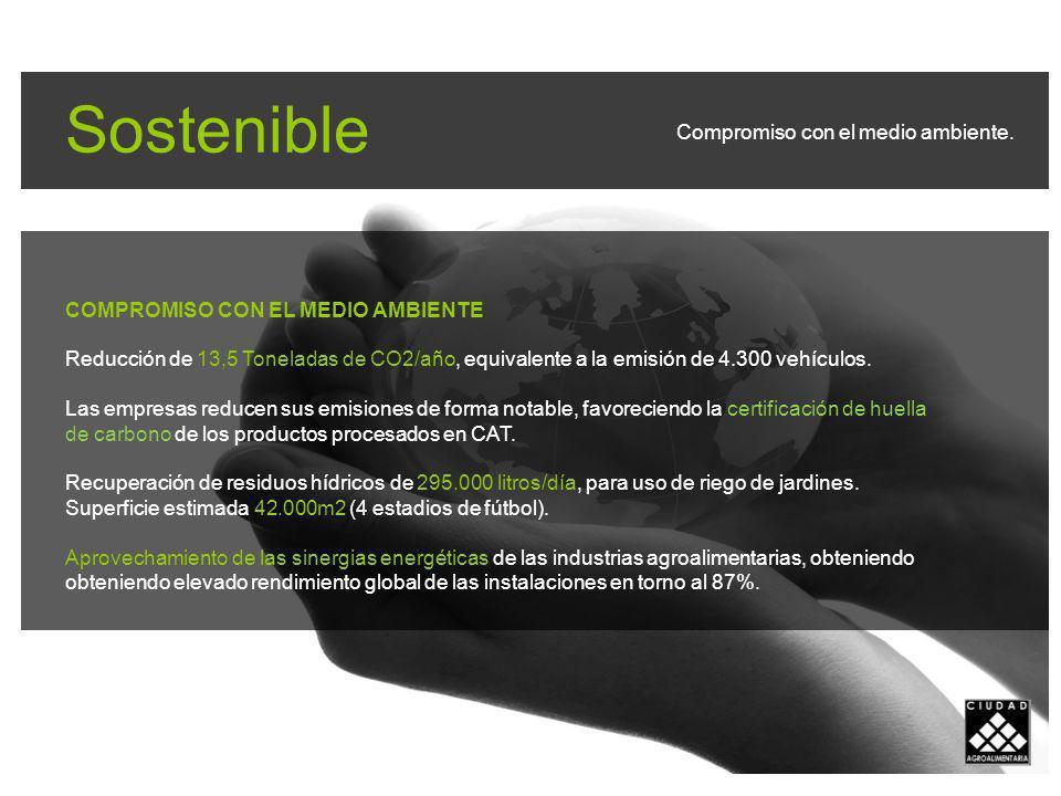 Sostenible COMPROMISO CON EL MEDIO AMBIENTE Reducción de 13,5 Toneladas de CO2/año, equivalente a la emisión de 4.300 vehículos.