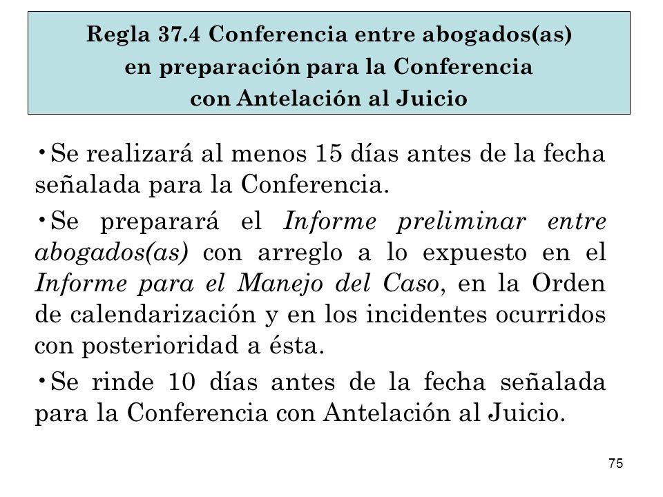 75 Se realizará al menos 15 días antes de la fecha señalada para la Conferencia.