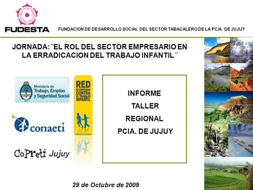 JORNADA: ¨EL ROL DEL SECTOR EMPRESARIO EN LA ERRADICACION DEL TRABAJO INFANTIL ¨ Informe Taller Regional.