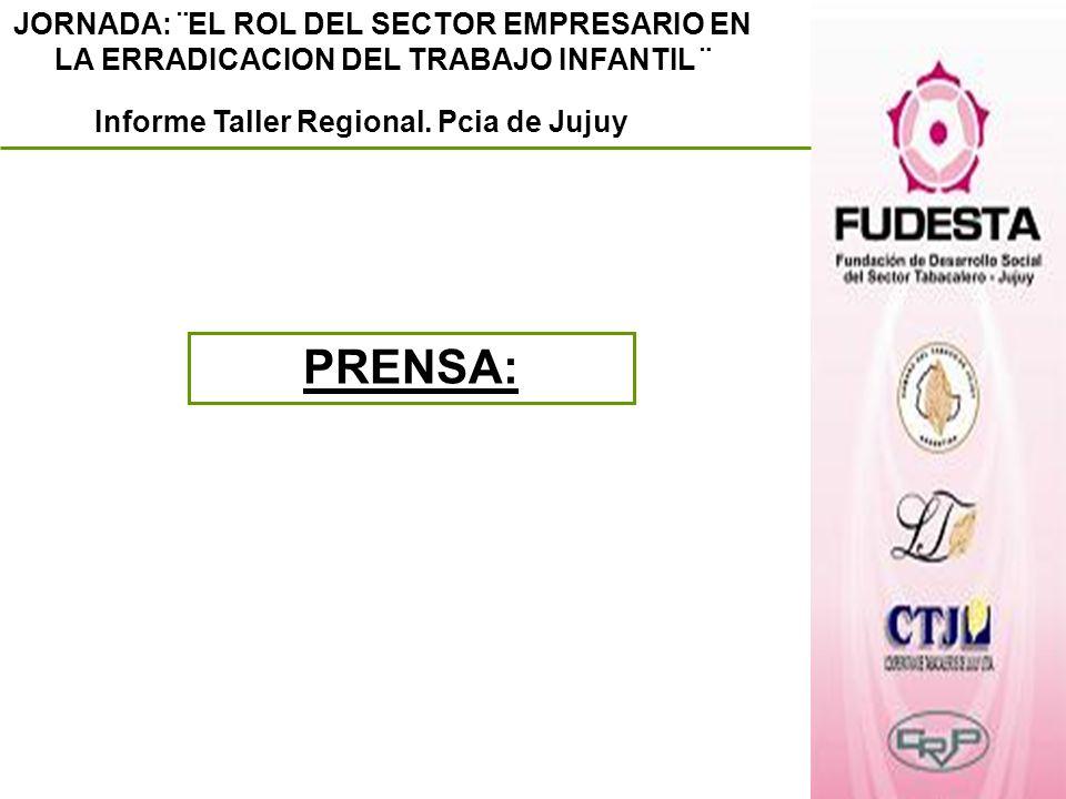 JORNADA: ¨EL ROL DEL SECTOR EMPRESARIO EN LA ERRADICACION DEL TRABAJO INFANTIL ¨ Informe Taller Regional. Pcia de Jujuy PRENSA: