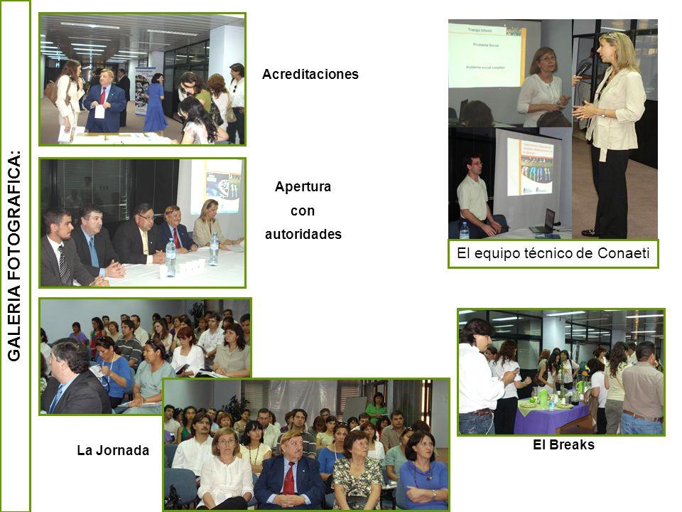GALERIA FOTOGRAFICA: Acreditaciones Apertura con autoridades El equipo técnico de Conaeti La Jornada El Breaks
