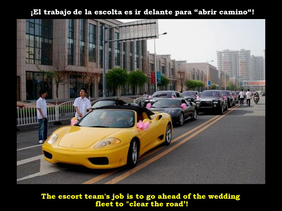 40 Porsche Cayennes, Range Rovers, BMW X5 and Audi Q7 are not counted as the wedding fleet, only escorts.