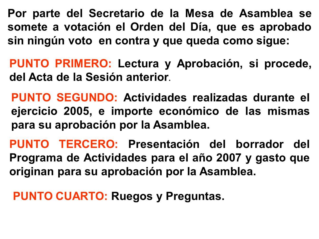 Al no presentarse terna alguna para presidir la Mesa de Asamblea proponen tres socios, D. Pedro Uriel Vinuesa, D. Juan Antonio Martín de las Mulas San