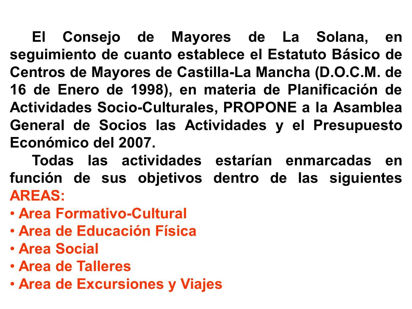 ANEXO II PROGRAMA DE ACTIVIDADES 2007 CENTRO DE MAYORES DE LA SOLANA (BORRADOR PARA SU APROBACION POR el Consejo de Mayores el día 22 de febrero de 2007 y por LA ASAMBLEA GENERAL DE SOCIOS el 6 de marzo de 2007)