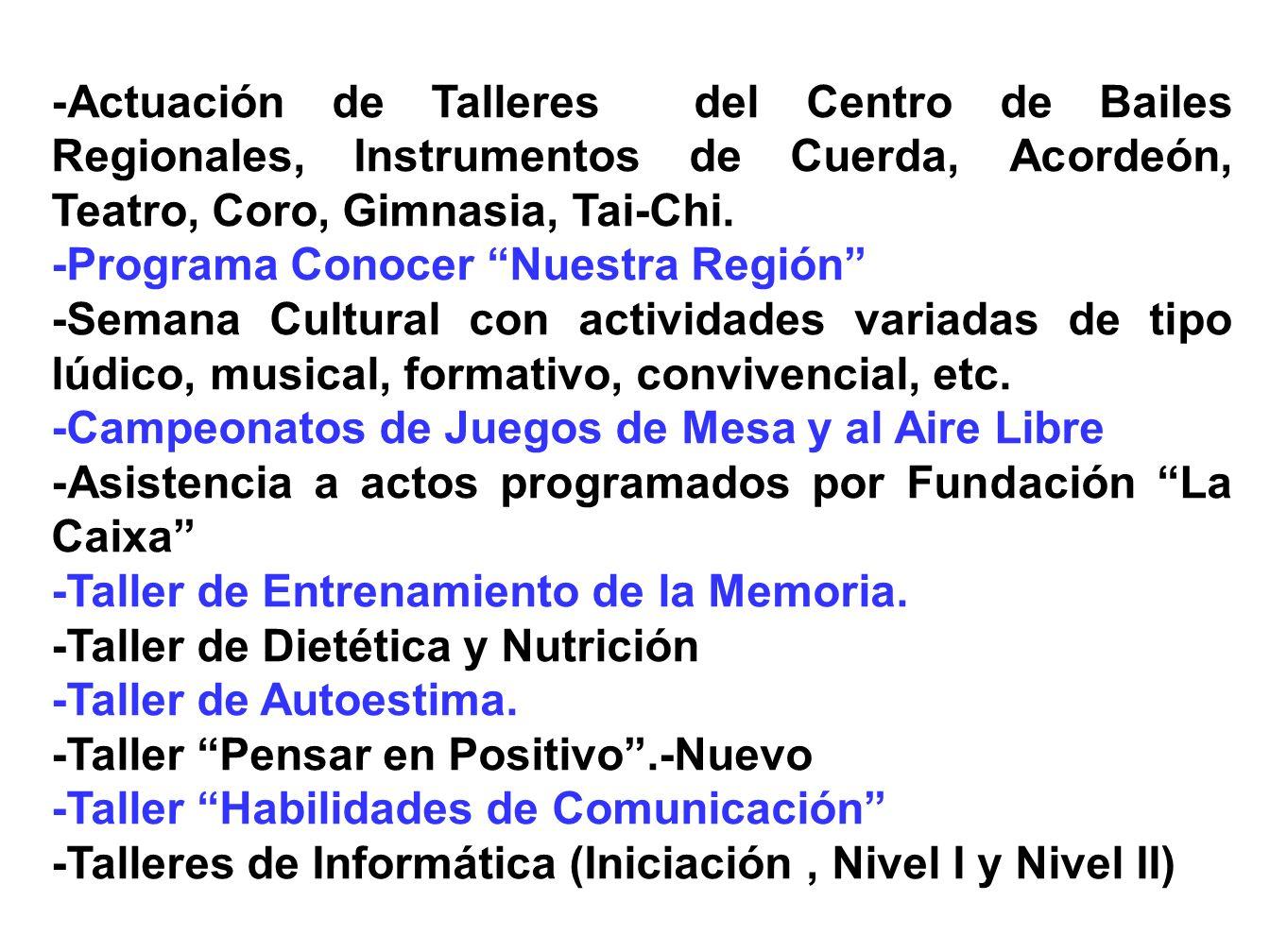Las ACTIVIDADES que se llevarán a cabo en el 2007, son las siguientes: -Baile de Convivencia dominical y en festivos -Programa Turismo Social -Excusio