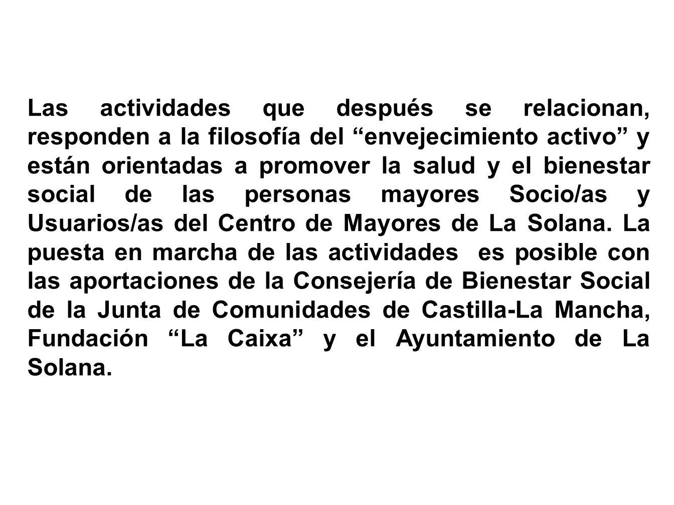 El Consejo de Mayores de La Solana, en seguimiento de cuanto establece el Estatuto Básico de Centros de Mayores de Castilla-La Mancha (D.O.C.M. de 16