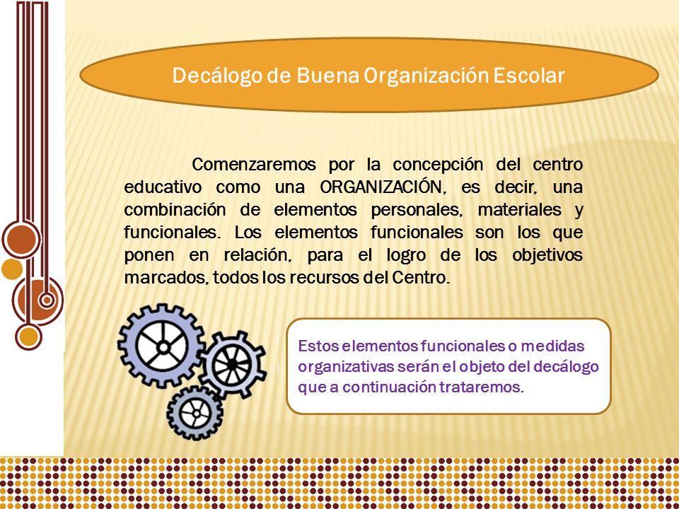 Decálogo de Buena Organización Escolar Comenzaremos por la concepción del centro educativo como una ORGANIZACIÓN, es decir, una combinación de elementos personales, materiales y funcionales.