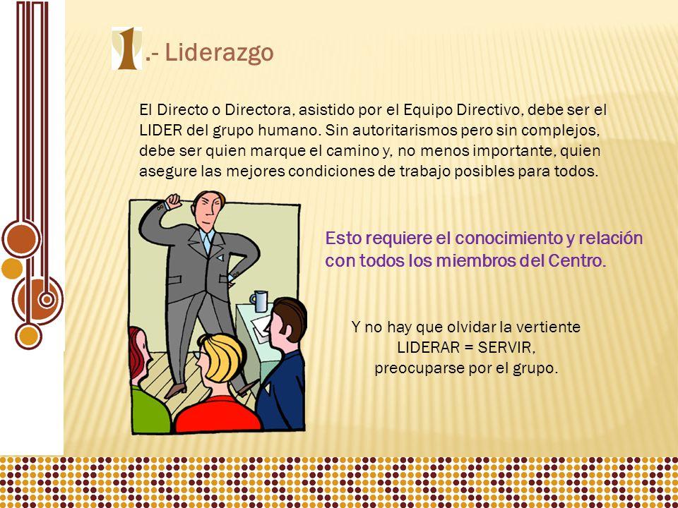 .- Liderazgo El Directo o Directora, asistido por el Equipo Directivo, debe ser el LIDER del grupo humano.