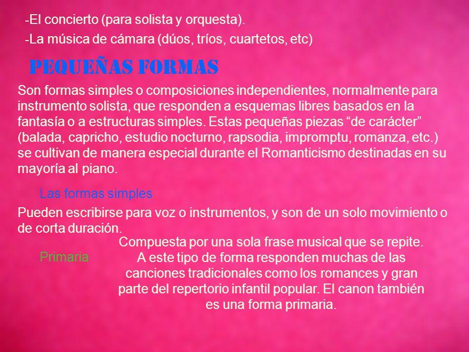 - El concierto (para solista y orquesta).