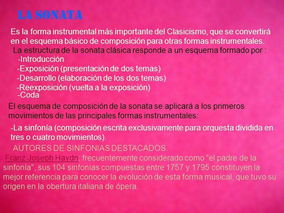 LA SONATA Es la forma instrumental más importante del Clasicismo, que se convertirá en el esquema básico de composición para otras formas instrumentales.