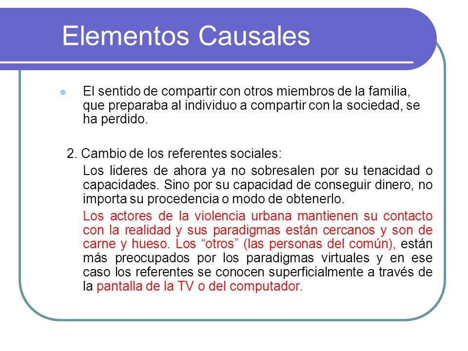 Elementos Causales El sentido de compartir con otros miembros de la familia, que preparaba al individuo a compartir con la sociedad, se ha perdido. 2.