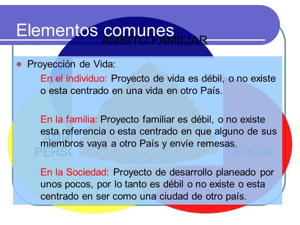 AMBITO FAMILIAR AMBITO SOCIAL AMBITO PERSONAL Elementos comunes Proyección de Vida: En el individuo: Proyecto de vida es débil, o no existe o esta cen