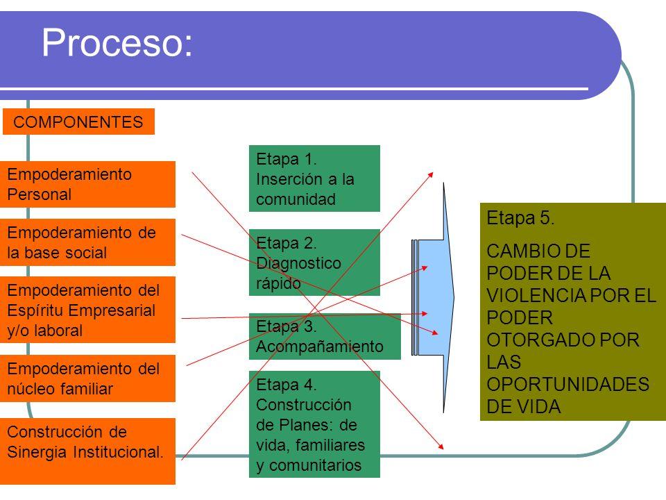 Proceso: Etapa 1. Inserción a la comunidad Empoderamiento Personal Empoderamiento de la base social Empoderamiento del Espíritu Empresarial y/o labora