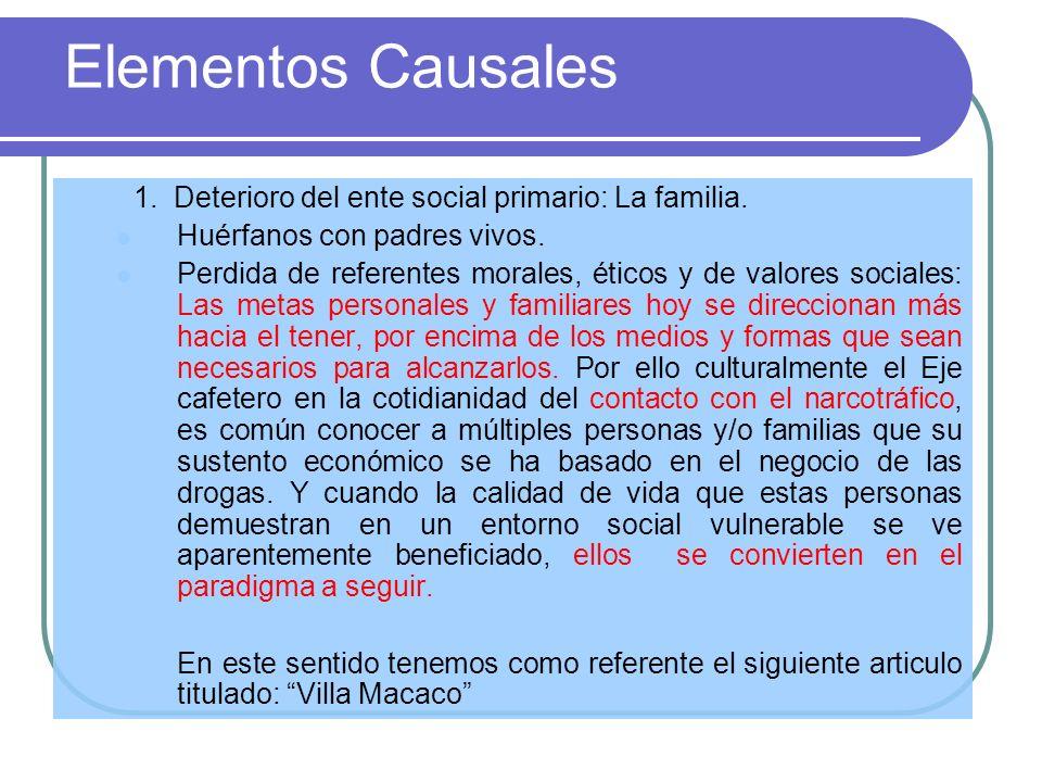 Elementos Causales 1. Deterioro del ente social primario: La familia. Huérfanos con padres vivos. Perdida de referentes morales, éticos y de valores s