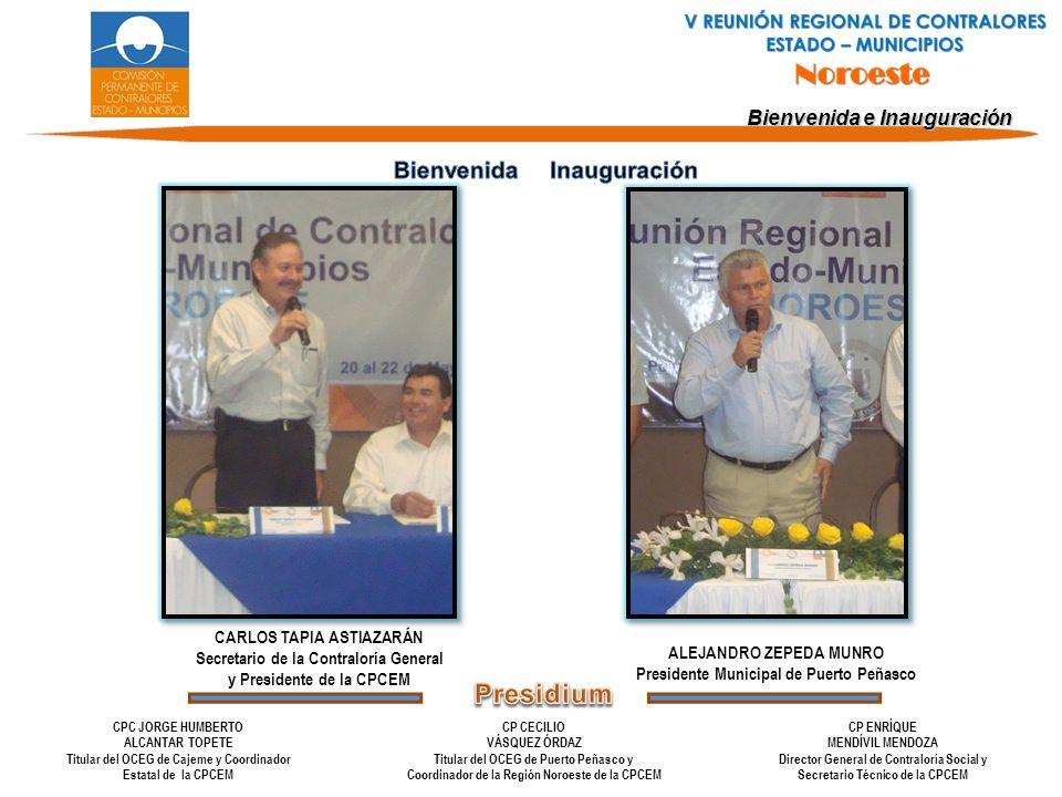 Bienvenida e Inauguración CARLOS TAPIA ASTIAZARÁN Secretario de la Contraloría General y Presidente de la CPCEM ALEJANDRO ZEPEDA MUNRO Presidente Muni