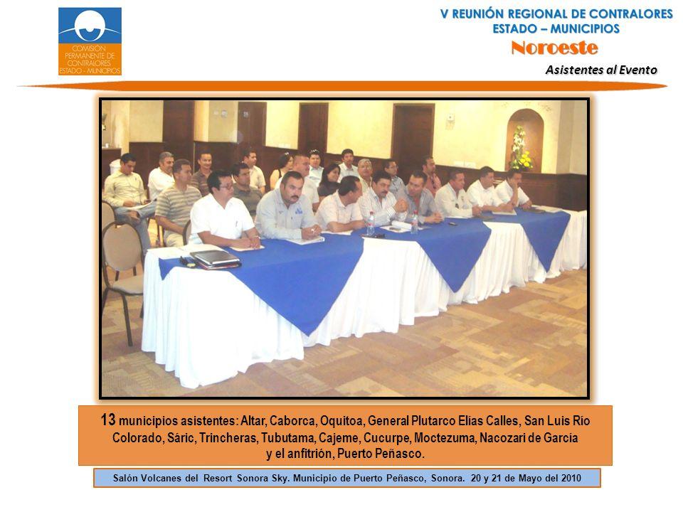 13 municipios asistentes: Altar, Caborca, Oquitoa, General Plutarco Elías Calles, San Luis Río Colorado, Sáric, Trincheras, Tubutama, Cajeme, Cucurpe,