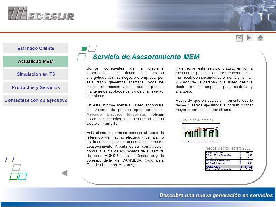 Estimado Cliente Actualidad MEM Actualidad MEM Simulación en T3 Productos y Servicios Contáctese con su Ejecutivo Somos conscientes de la creciente im