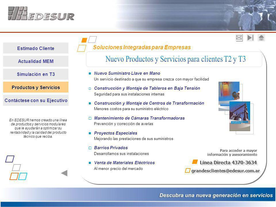 Estimado Cliente Actualidad MEM Simulación en T3 Productos y Servicios Productos y Servicios Contáctese con su Ejecutivo Soluciones Integradas para Em