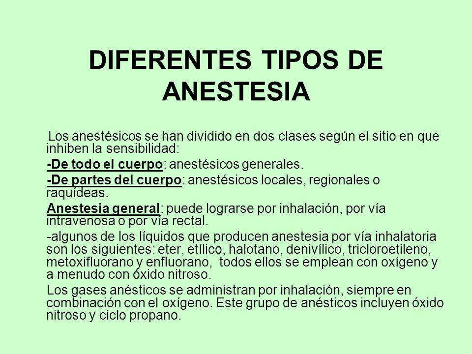 DIFERENTES TIPOS DE ANESTESIA Los anestésicos se han dividido en dos clases según el sitio en que inhiben la sensibilidad: -De todo el cuerpo: anestés
