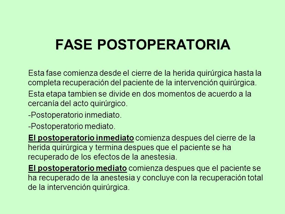 FASE POSTOPERATORIA Esta fase comienza desde el cierre de la herida quirúrgica hasta la completa recuperación del paciente de la intervención quirúrgi
