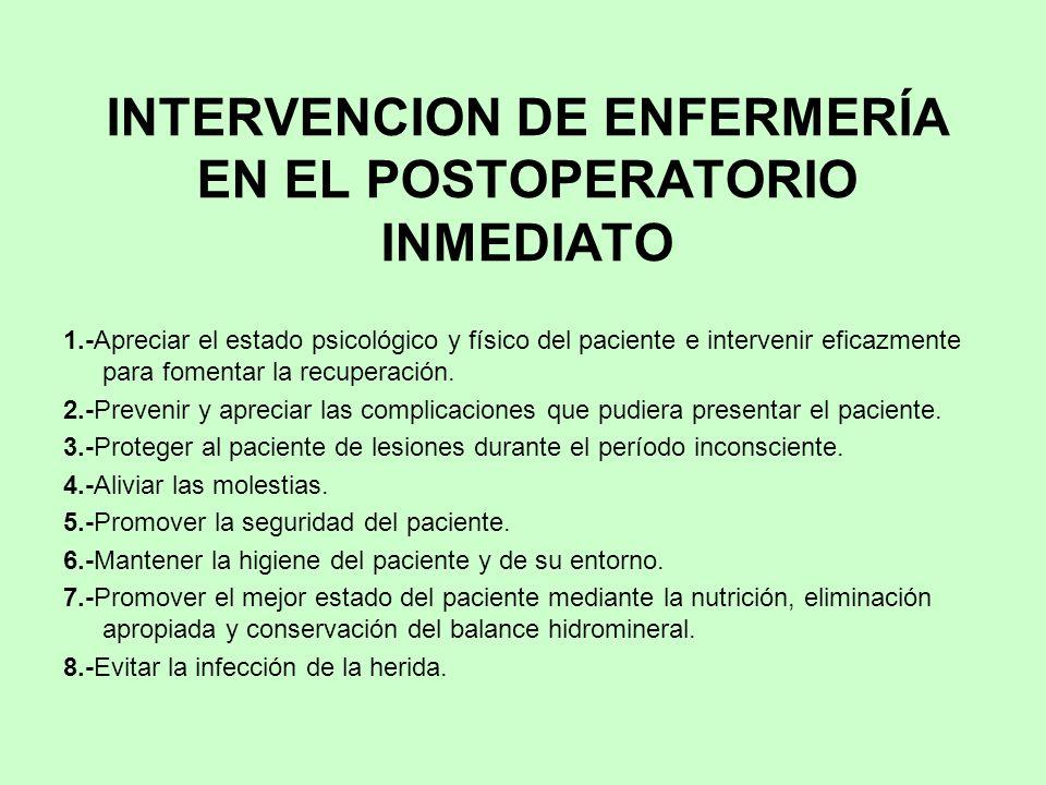 INTERVENCION DE ENFERMERÍA EN EL POSTOPERATORIO INMEDIATO 1.-Apreciar el estado psicológico y físico del paciente e intervenir eficazmente para foment