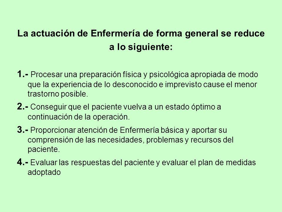 La actuación de Enfermería de forma general se reduce a lo siguiente: 1.- Procesar una preparación física y psicológica apropiada de modo que la exper