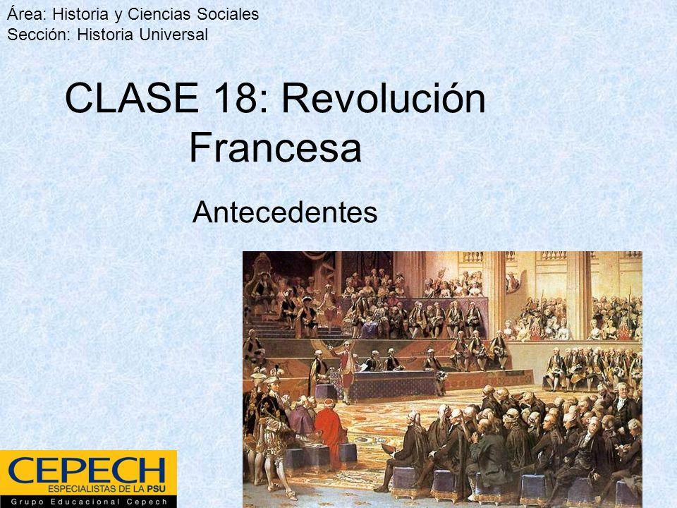 Antecedentes Área: Historia y Ciencias Sociales Sección: Historia Universal CLASE 18: Revolución Francesa