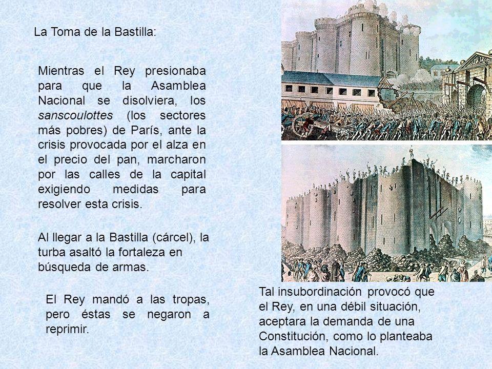 La Toma de la Bastilla: Mientras el Rey presionaba para que la Asamblea Nacional se disolviera, los sanscoulottes (los sectores más pobres) de París, ante la crisis provocada por el alza en el precio del pan, marcharon por las calles de la capital exigiendo medidas para resolver esta crisis.