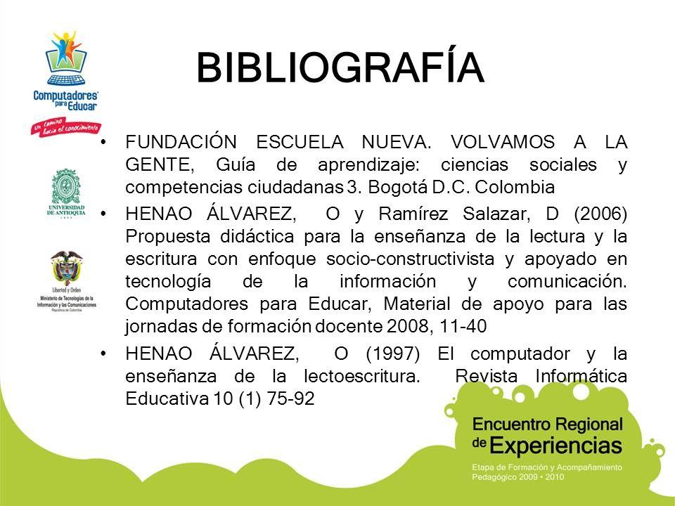 BIBLIOGRAFÍA FUNDACIÓN ESCUELA NUEVA. VOLVAMOS A LA GENTE, Guía de aprendizaje: ciencias sociales y competencias ciudadanas 3. Bogotá D.C. Colombia HE