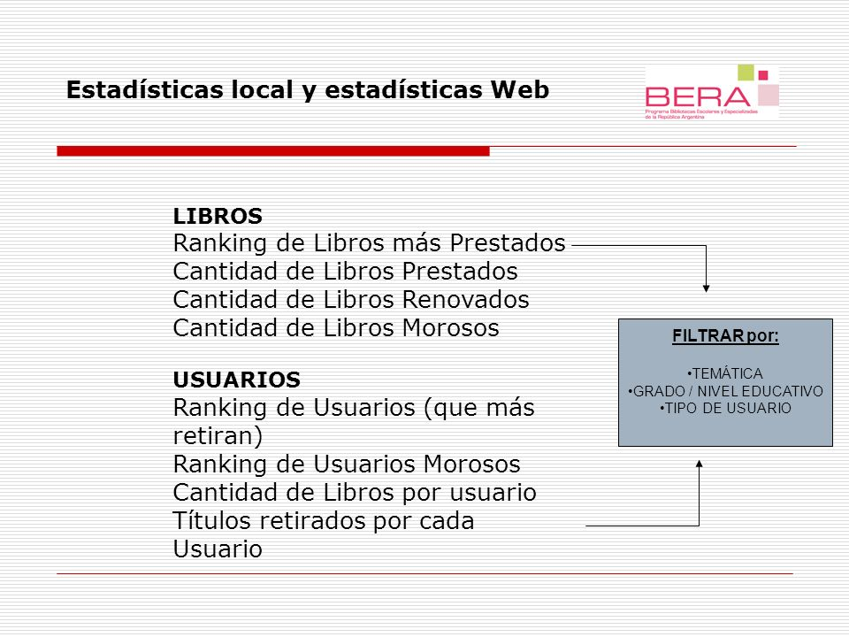 Módulo de estadísticas Web, versión preliminar. Tablas y opciones de cruces para instituciones.