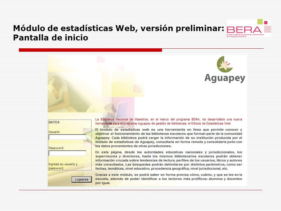 Módulo de estadísticas Web, versión preliminar: Pantalla de inicio