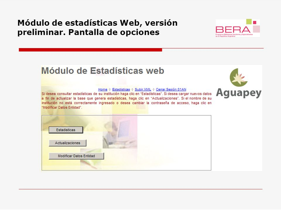Módulo de estadísticas Web, versión preliminar. Modificar datos de entidad