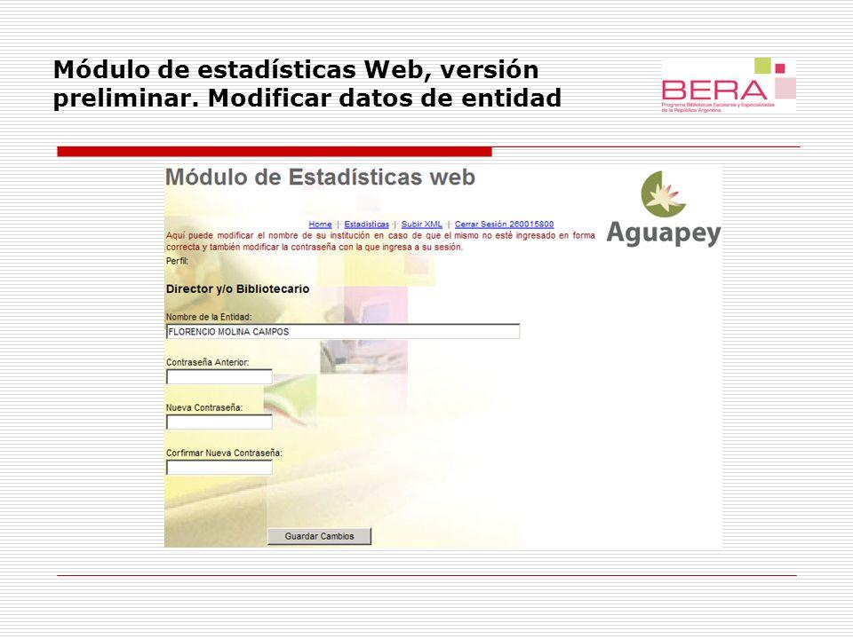 Módulo de estadísticas Web, versión preliminar. Exportación de datos.