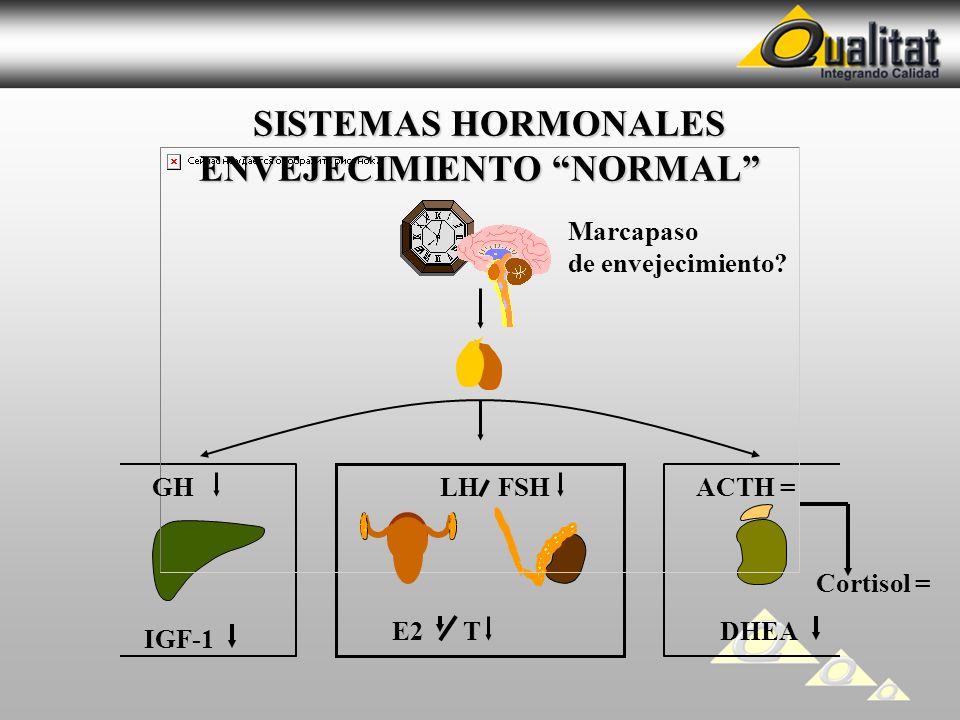 SISTEMAS HORMONALES ENVEJECIMIENTO NORMAL SISTEMAS HORMONALES ENVEJECIMIENTO NORMAL | LH FSH E2 T GH IGF-1 ACTH = DHEA Cortisol = Marcapaso de envejec