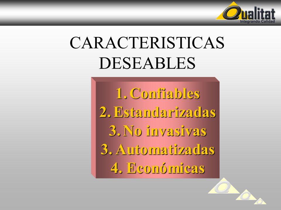 CARACTERISTICAS DESEABLES 1.Confiables 2.Estandarizadas 3.No invasivas 3. Automatizadas 4. Económicas