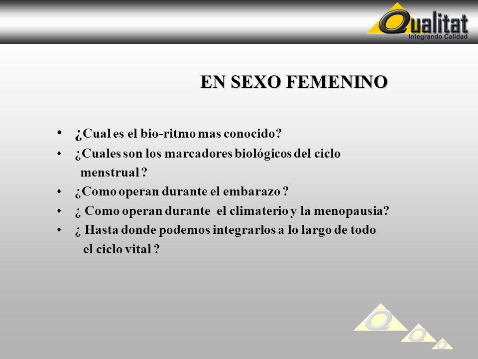 EN SEXO FEMENINO EN SEXO FEMENINO ¿ Cual es el bio-ritmo mas conocido? ¿Cuales son los marcadores biológicos del ciclo menstrual ? ¿Como operan durant