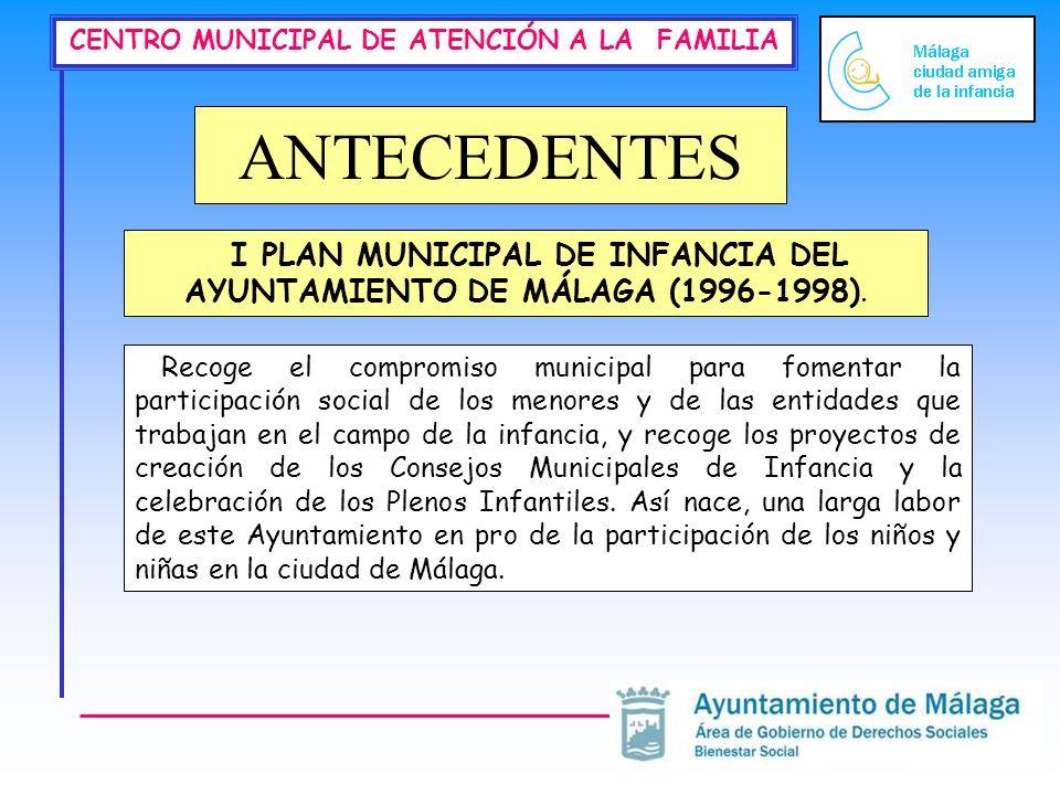 CENTRO MUNICIPAL DE ATENCIÓN A LA FAMILIA ANTECEDENTES Recoge el compromiso municipal para fomentar la participación social de los menores y de las en
