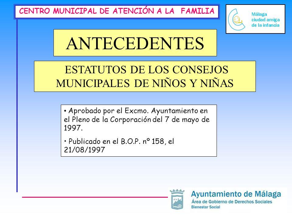 CENTRO MUNICIPAL DE ATENCIÓN A LA FAMILIA ANTECEDENTES ESTATUTOS DE LOS CONSEJOS MUNICIPALES DE NIÑOS Y NIÑAS Aprobado por el Excmo.