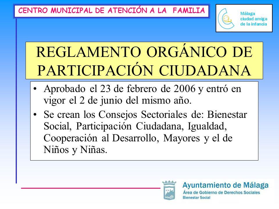 CENTRO MUNICIPAL DE ATENCIÓN A LA FAMILIA REGLAMENTO ORGÁNICO DE PARTICIPACIÓN CIUDADANA Aprobado el 23 de febrero de 2006 y entró en vigor el 2 de ju