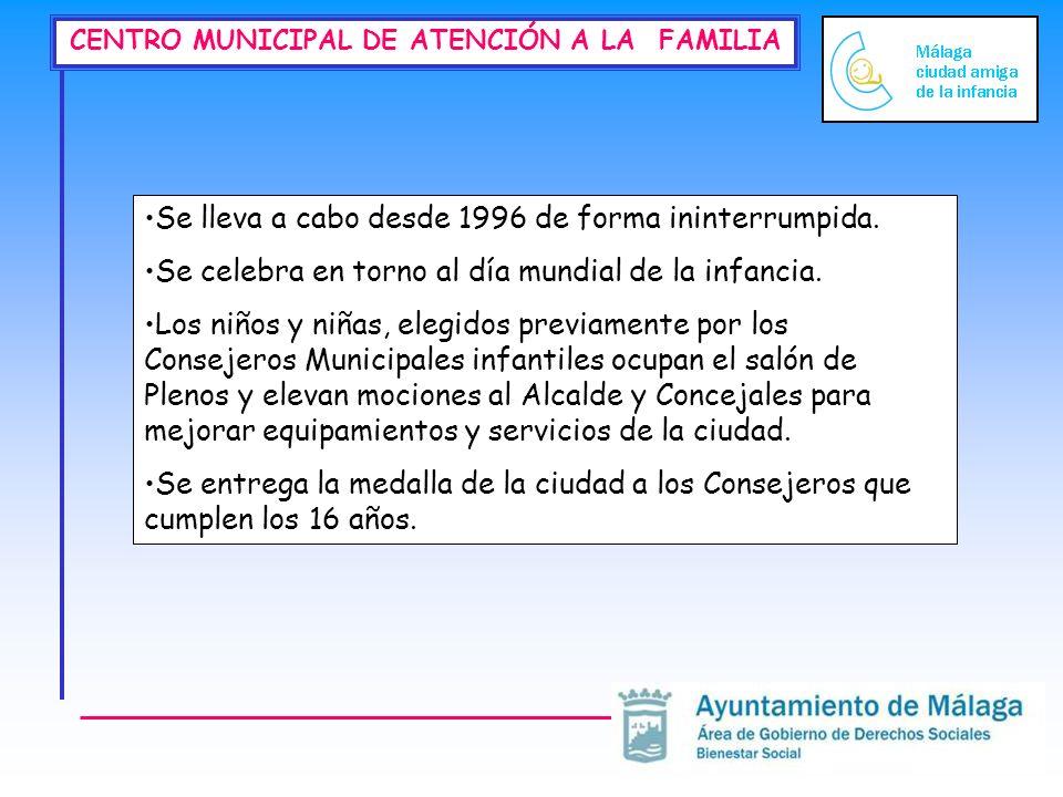 CENTRO MUNICIPAL DE ATENCIÓN A LA FAMILIA Se lleva a cabo desde 1996 de forma ininterrumpida.