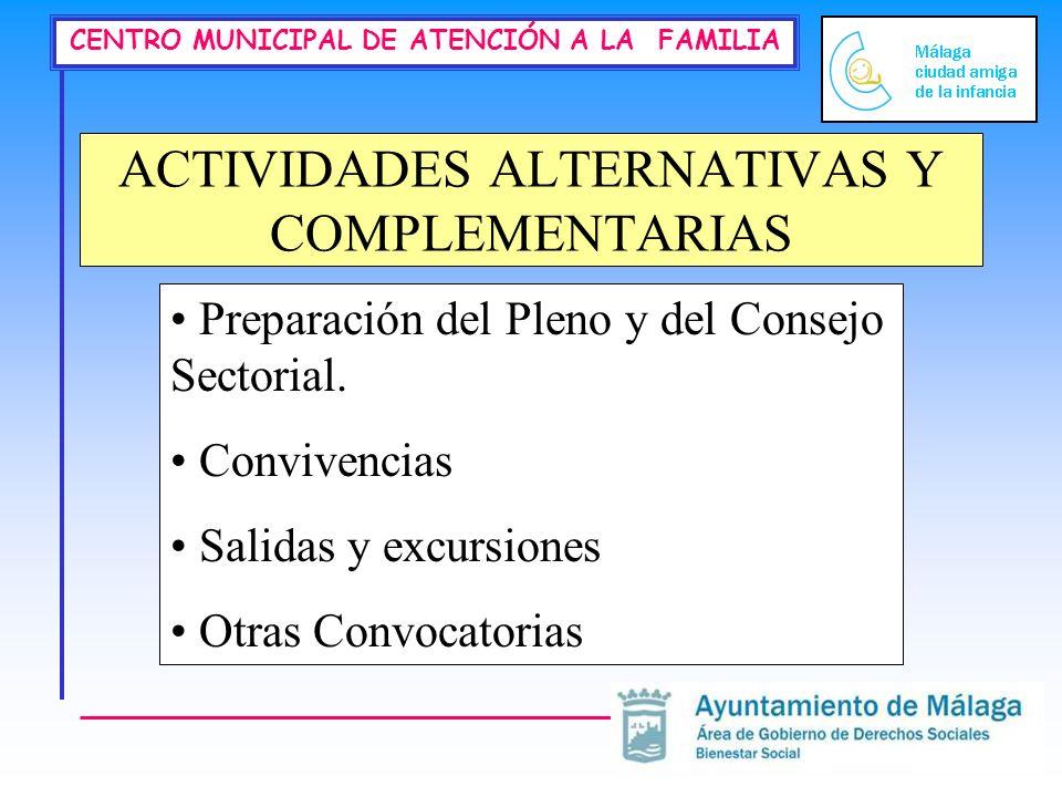 CENTRO MUNICIPAL DE ATENCIÓN A LA FAMILIA ACTIVIDADES ALTERNATIVAS Y COMPLEMENTARIAS Preparación del Pleno y del Consejo Sectorial. Convivencias Salid